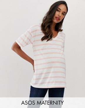 eda0d23d25b17 ASOS DESIGN Maternity linen mix mix t-shirt with v-neck in stripe