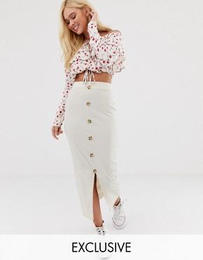 Wednesday's Girl button through midi skirt