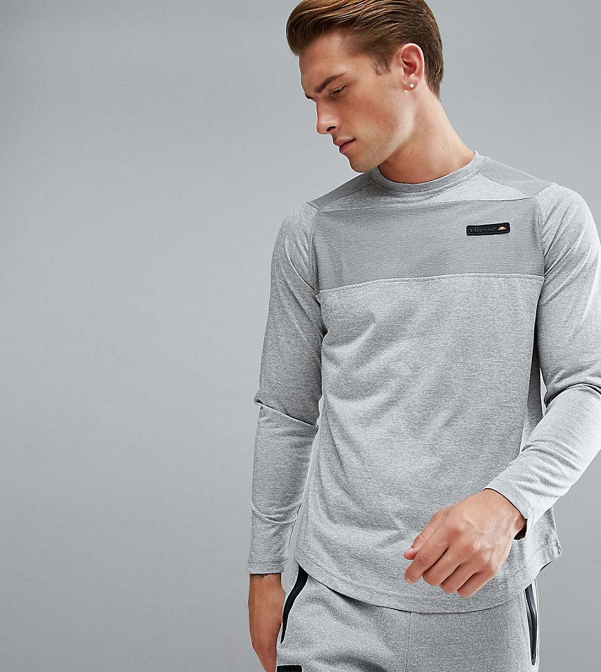 Product photo of Ellesse sport long sleeve tshirt with panel logo in grey grey