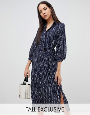 Fashion Union Tall midi shirt dress in smudge spot - Navy smudge