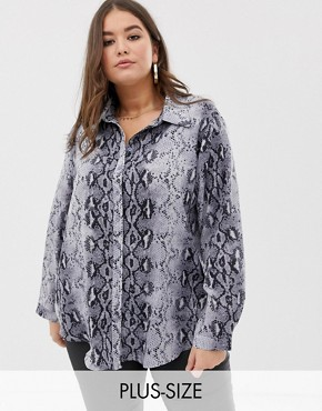 PrettyLittleThing Plus oversized blouse in grey snake