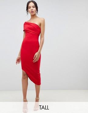 City Goddess Tall Asymetric Bodycon Dress - Red