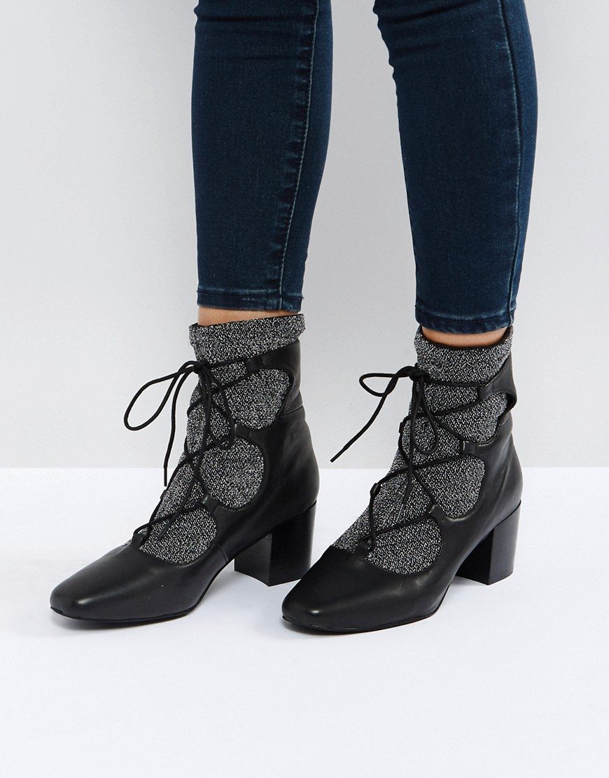 1920s Style Shoes Sol Sana Cupid Black Leather Glitter Ghillie Boots - Black $84.00 AT vintagedancer.com