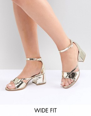 Lost Ink Wide Fit Rose Gold Block Heeled Sandals
