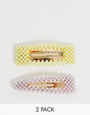 Stradivarius set of 2 hair-clips with pearls in yellow & lilac