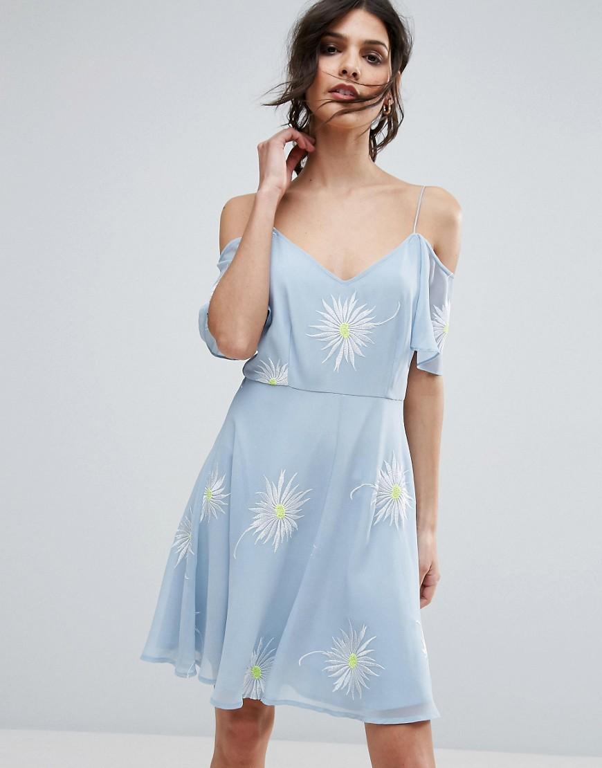 Blu donna ASOS PREMIUM - Vestitino ricamato con spalle scoperte - Blu