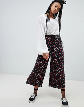 Nobody's Child wide leg trousers in ditsy floral
