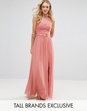 Little Mistress Tall Allover Lace Top Maxi Dress With Applique Belt Detail - Rose