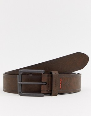 Original Penguin contrast stitch belt in brown - Brown