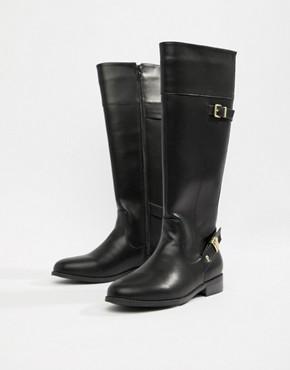 Head Over Heels Tonya black knee high flat boots
