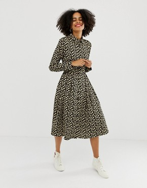 Glamorous midi shirt dress with pleated skirt in buttercup floral