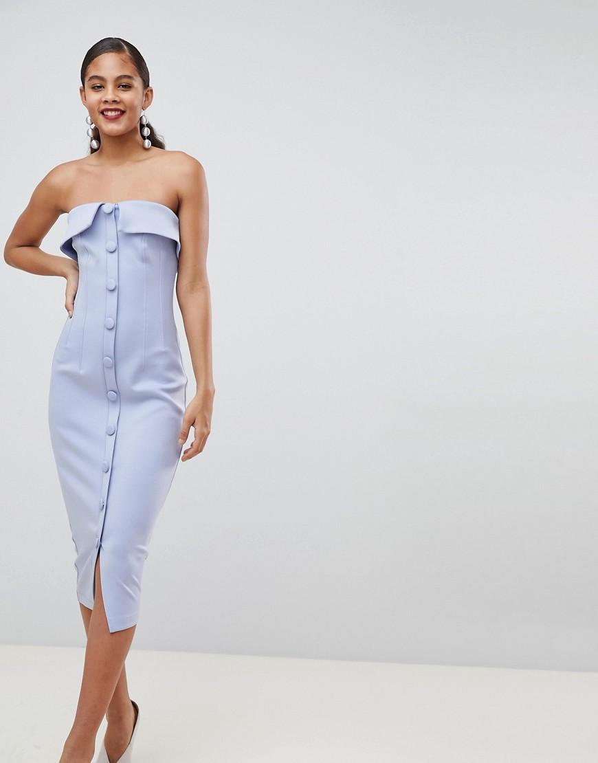 Blu donna Vestito midi a fascia in tessuto scuba con bottoni Blu ASOS DESIGN Tall