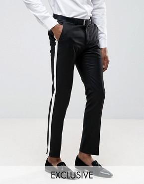 Noak Skinny Trouser with Stripe - Black