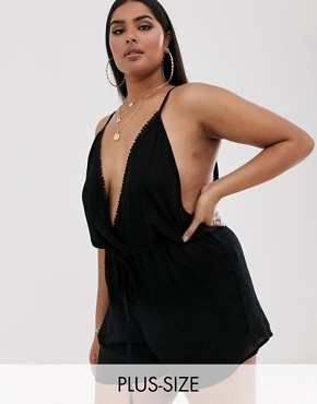 South Beach Curve Exclusive beach playsuit in black