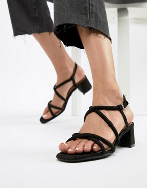 Bershka strappy block heel sandal in black - Black