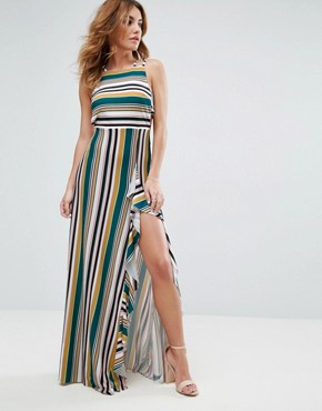 ASOS Striped Strappy Bow Back Maxi Dress - Multi