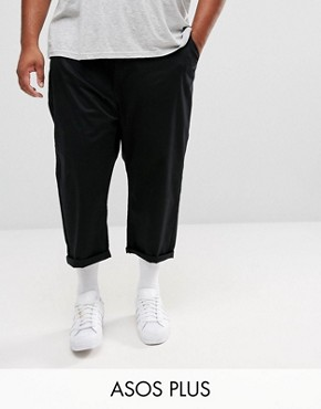 ASOS PLUS Oversized Tapered Chinos In Black - Black