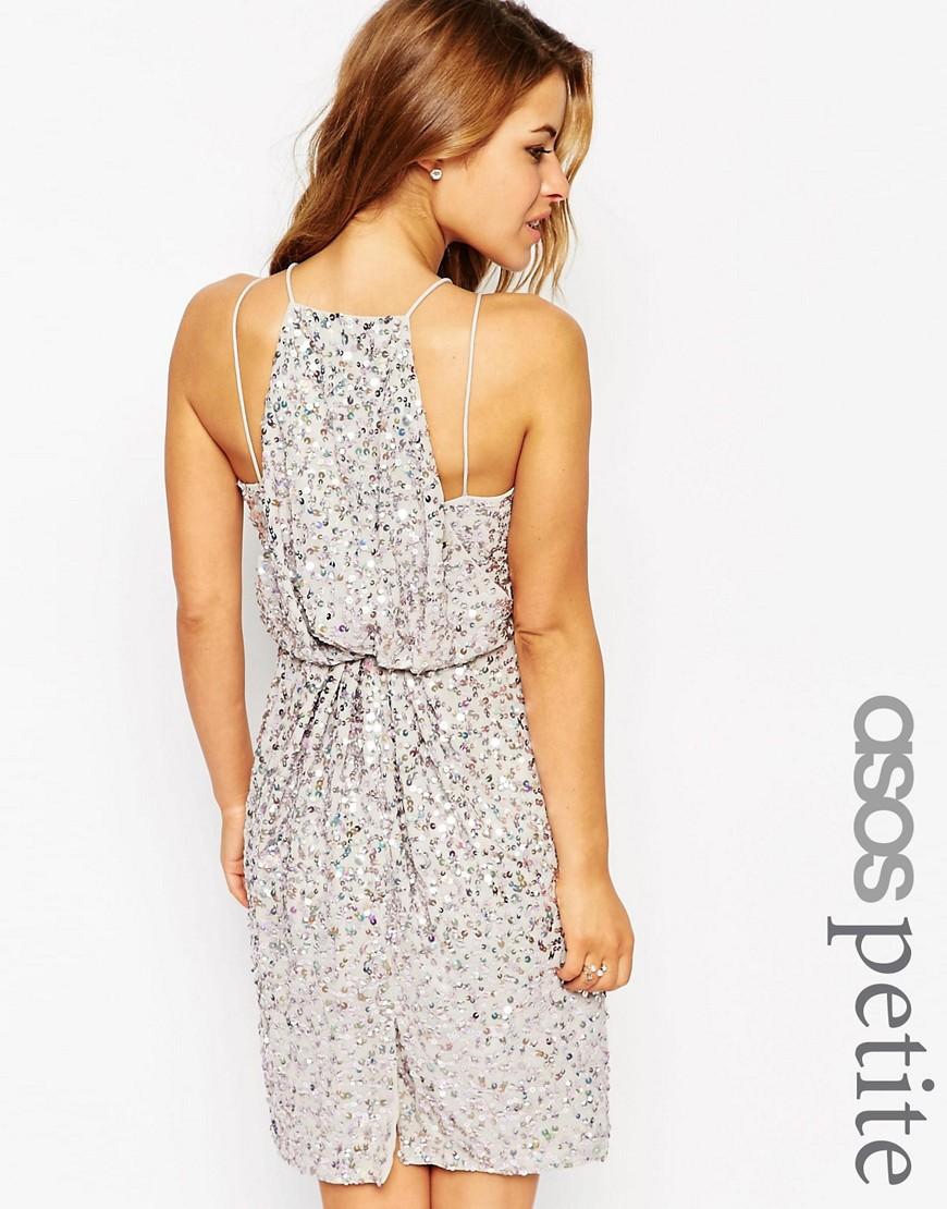 e4ddbef2562 Платье-футляр с драпированной спинкой и пайетками ASOS PETITE - Серый