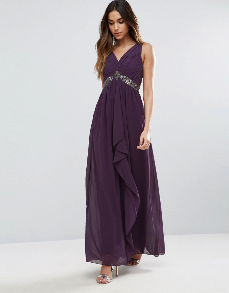 Little Mistress Embellished Maxi Dress With Tie Back