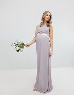 TFNC Maternity Sateen Bow Back Maxi Bridesmaid Dress - Grey