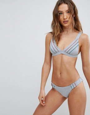 RVCA Pipeline Triangle Grey Marl Bikini Top - Heather grey