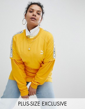 Puma Exclusive To ASOS Plus T-Shirt With Taped Side Stripe In Yellow - Citrus