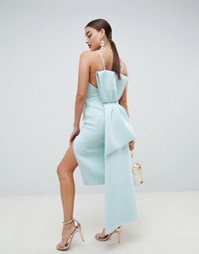 ASOS DESIGN premium u bar bow back bodycon midi dress - Aqua