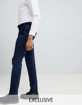 Farah Hurstleigh skinny check trousers in navy Exclusive at ASOS