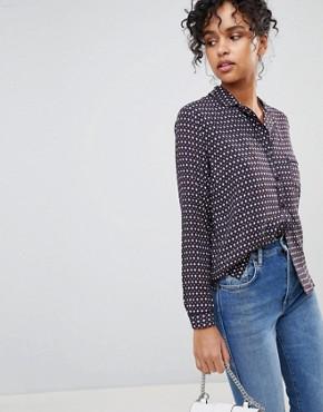 Pepe Jeans Talya Retro Print Shirt with Rever Collar - Multi