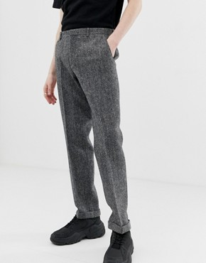 Noak slim fit harris tweed suit trousers in grey