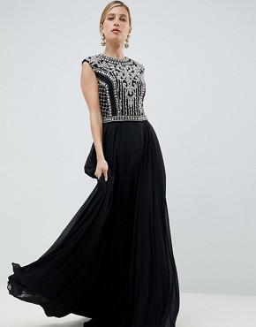 Jovani Heavily Embellished Maxi Dress - Black