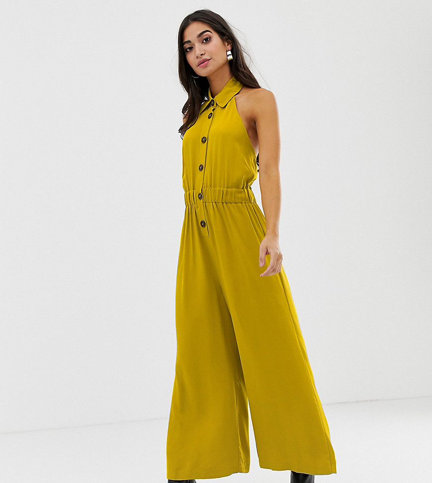 ASOS DESIGN Petite button front collar culotte jumpsuit