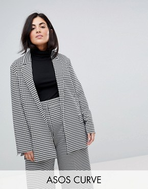 ASOS CURVE Tailored Power Blazer in Dogstooth - Check