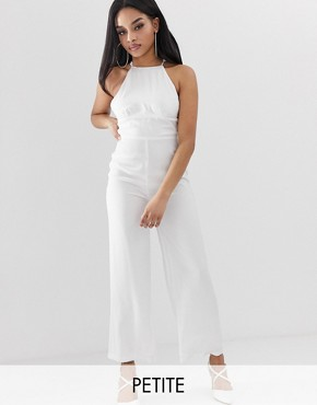 Fashion Union Petite cami jumpsuit with lace back