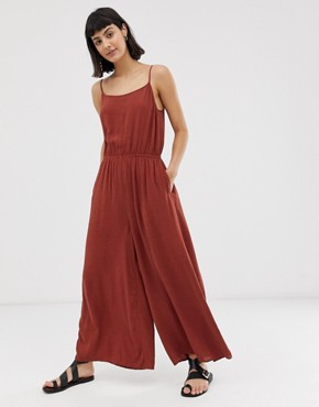 Weekday wide leg jumpsuit in rust
