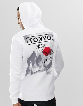 YOURTURN hoodie in white with back print
