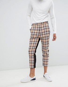 ASOS DESIGN tapered suit trousers in camel check - Camel