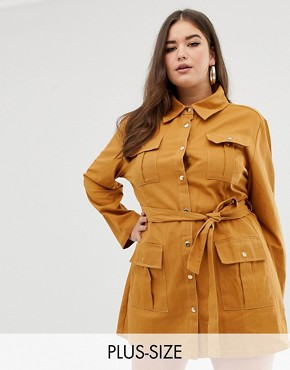 PrettyLittleThing Plus contrast stitch utility dress in mustard