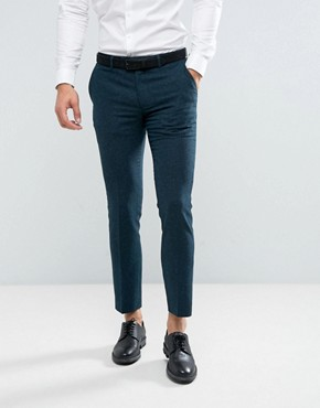 Farah Skinny Trousers In Hopsack - Green