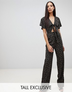 Fashion Union Tall tie front jumpsuit in floral heart print - Black floral