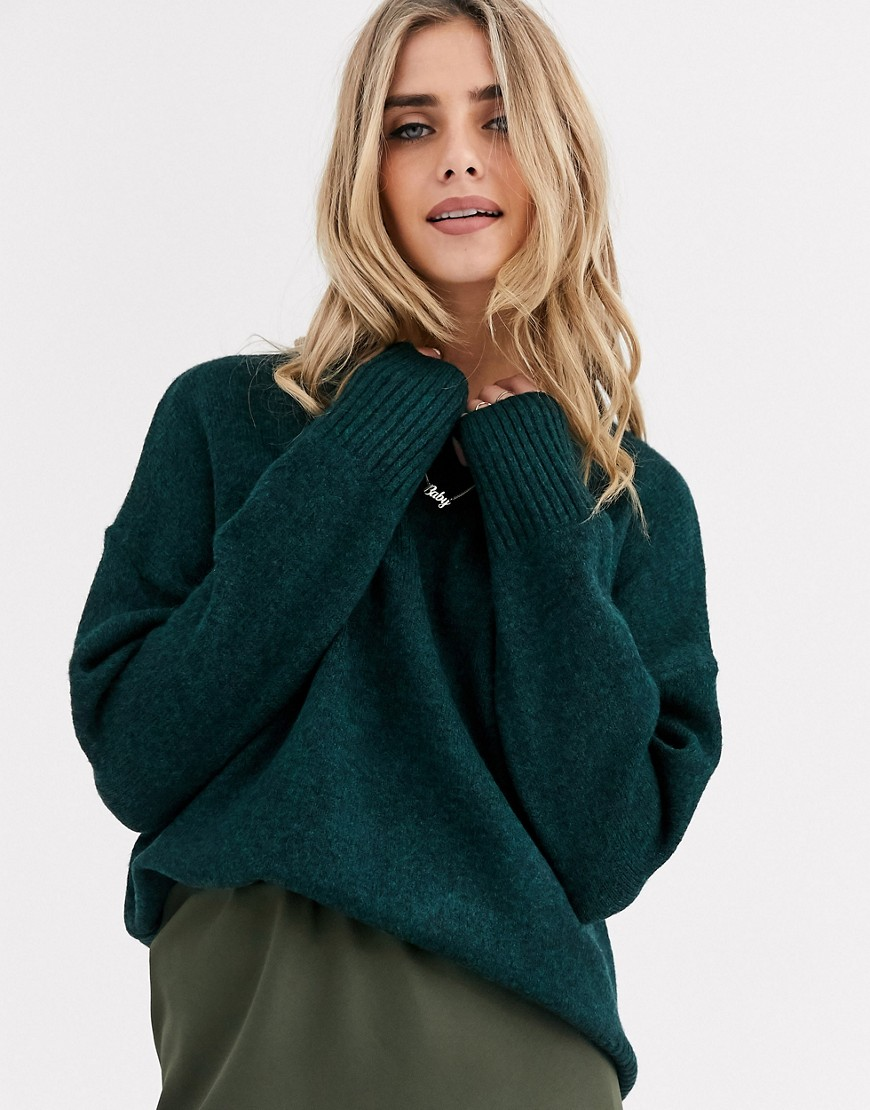 New Look long line crew neck rib jumper in green