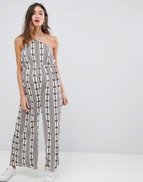 Glamorous Bloom printed halterneck jumpsuit - Cream folk stripe