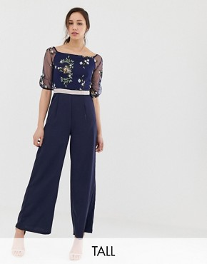 Little Mistress Tall embroidered top wide leg jumpsuit in navy