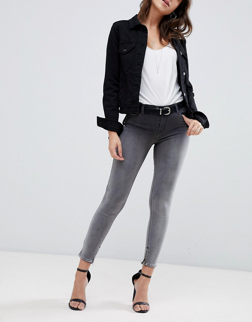 Replay - TOUCH SUPER HIGH RAISED CROPPED JEANS IN OMBRE BLACK WASH - BLACK