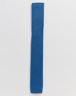 Twisted Tailor knitted tie in blue