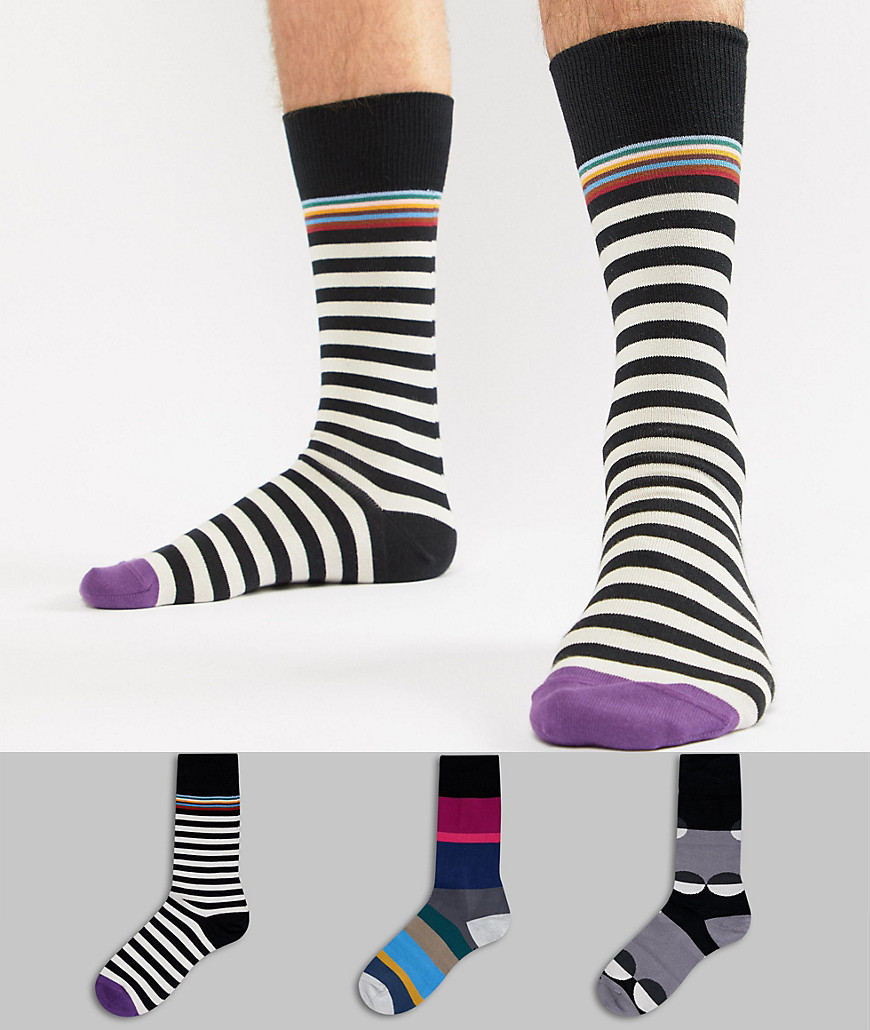 Paul Smith Stripe/Polka Dot Socks 3 Pack - Multi