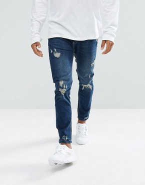 Bershka Skinny Jeans With Rips in Dark Blue Wash - Blue