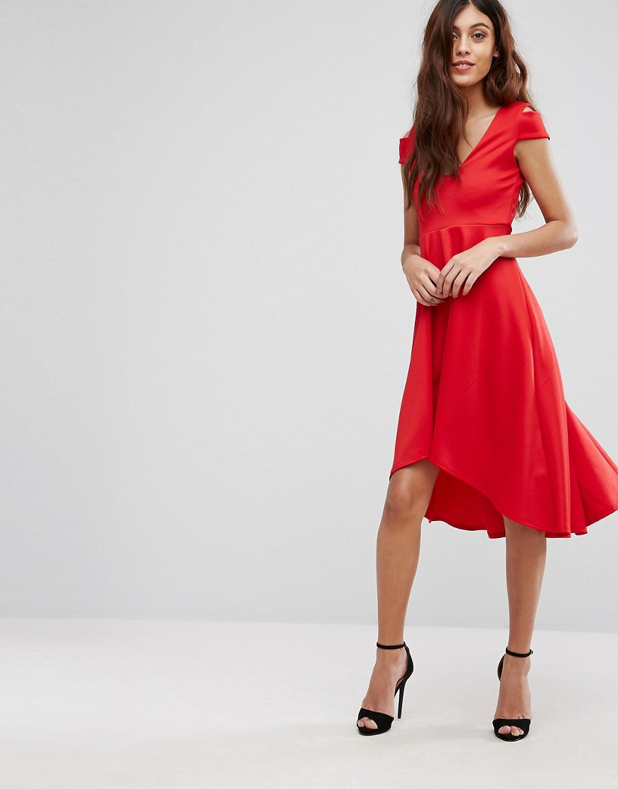 Be Jealous Skater Prom Midi Dress With Hi Lo Hem