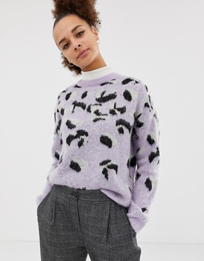 New Look brushed animal jumper in purple pattern - Purple pattern