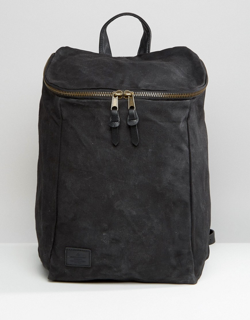 ASOS Backpack In Washed Canvas With Chunky Zip Top - Black